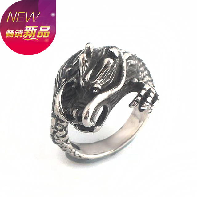 New steampunk Biker Game of Thrones Dragon Ring Men Rings talisman Jewelry