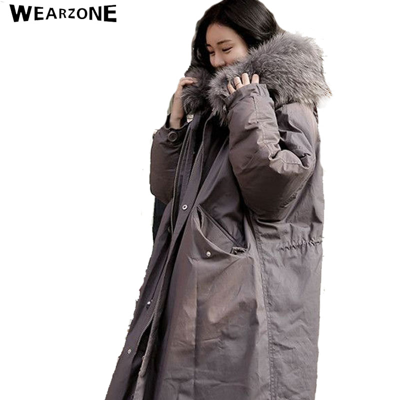 2016 New Women Winter Army Green X-Long Cotton Jacket Coats Thick Parkas Oversize Faux Fox Fur Super Big Collar Hooded Outwear
