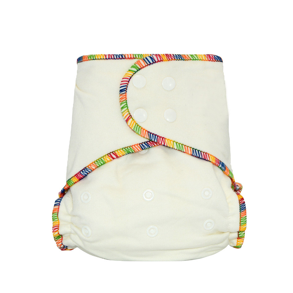 Miababy Onesize Bamboo Cotton Fitted Cloth Diaper For Heavy Wetter Baby Fits Baby 5-15kgs, 70% Bamboo 30% Cotton
