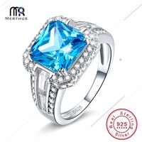 Women Fine 7 5ct Dazzling Princess Cut London Blue CZ Ring Cocktail Genuine Real Pure Solid