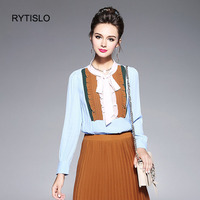 RYTISLO Mixed Color Fashion Women Blouse Lovely Bowtie Collar Long Sleeve Autumn Female Tops Casual Blouse