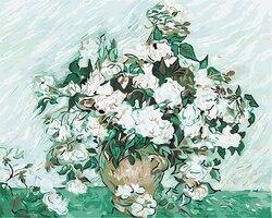 Obraz bez ramy według numerów DIY cyfrowy olejny malarstwo na płótnie malarstwo prezent na boże narodzenie dekoracje do domu Van gogh-białe róże