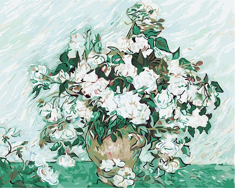 Rahmenlose Malen Nach Zahlen DIY Digital Ölgemälde Leinwand Malerei Weihnachten Geschenk Hause Dekoration Van gogh-weiß rosen