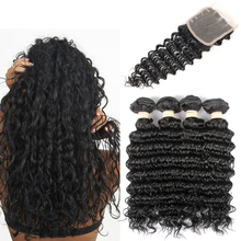 2016 Special Offer Sale Brazilian Virgin Hair Ms Lula Hair And Bundles 8a Brazilian Deep Wave With Closure 4 Bundle Weave With