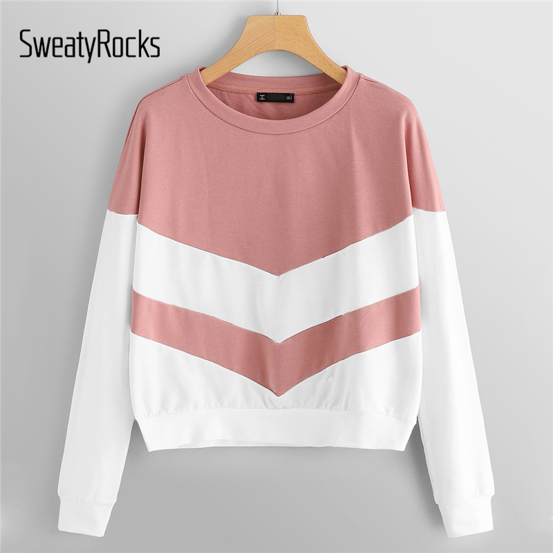 SweatyRocks Pink Two Tone Colorblock Basic Pullover Sweatshirts Long Sleeve Preppy Women Tops 2018 Autumn Casual Sweatshirt