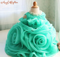 Beautiful Green Organza Ruffle Flower Girl Dress Birthday Dress 1 Year Old christening gown Thanksgiving Baby Christmas Dress