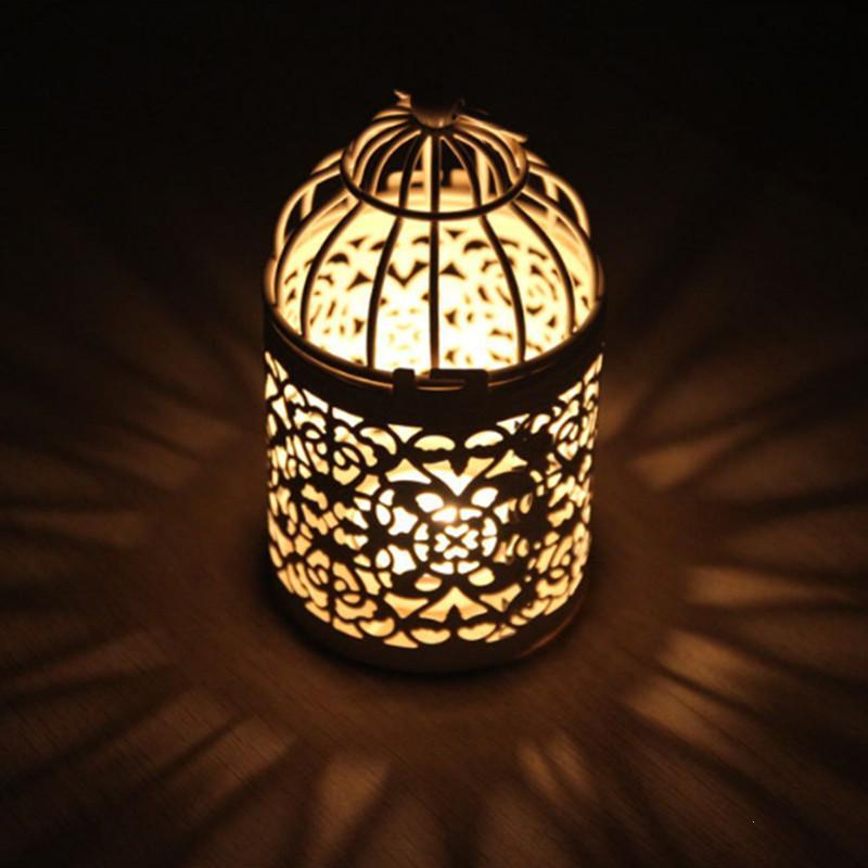Home & Garden European Style Metal Candle Holder White Candlestic Moroccan Lamp Metal Lantern Wedding Decoration Portavelas Candlestick Jkl071 Wide Varieties Candles & Holders