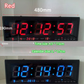 Aluminum Large Digital LED Wall Clock Big Watch Modern Design Home Decor Decoration BLUE / RED / GREEN Free Shipping