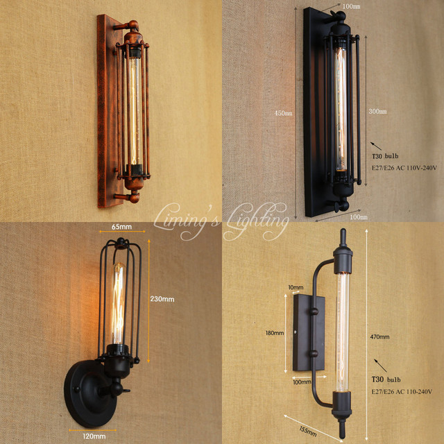 AC110V 220v Steampunk T30 Edison Bulb Lamps Art Deco Vintage Wall Sconces  Lamp Home Lighting Decorative