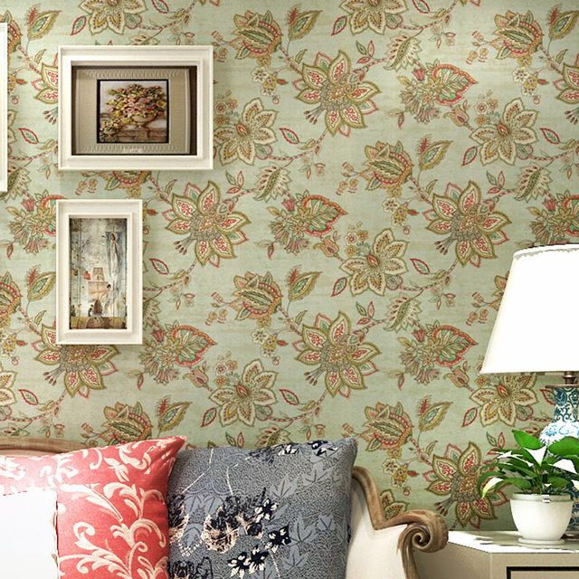 Green Pastoral Southeast Asian Style Pure Paper Big Flower Wallpaper Living Room  Bedroom Background Wall Decor