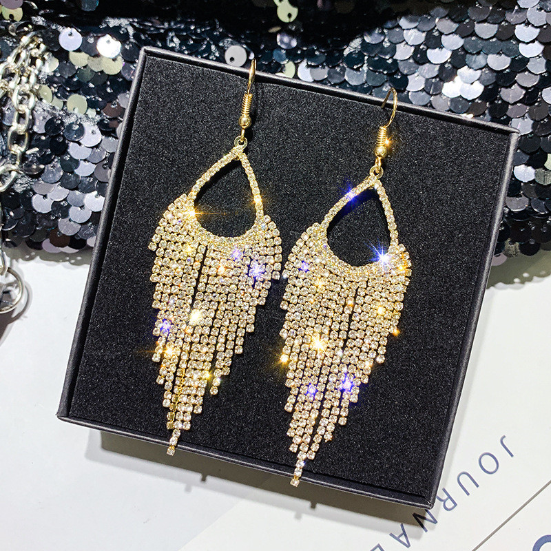 FYUAN Long Tassel Geometric Drop Earrings for Women 2019 Bijoux Shiny Full Rhinestone Crystal Dangle Earring Statement Jewelry