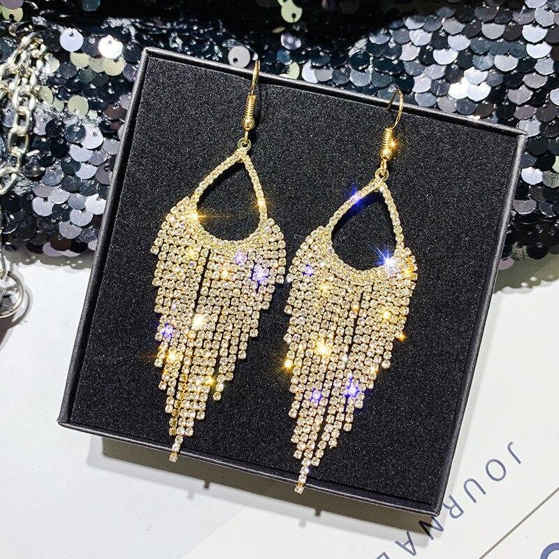 FYUAN Long Tassel Geometric Drop Earrings for Women 2019 Bijoux Shiny Full Rhinestone Crystal Dangle Earring Statement Jewelry
