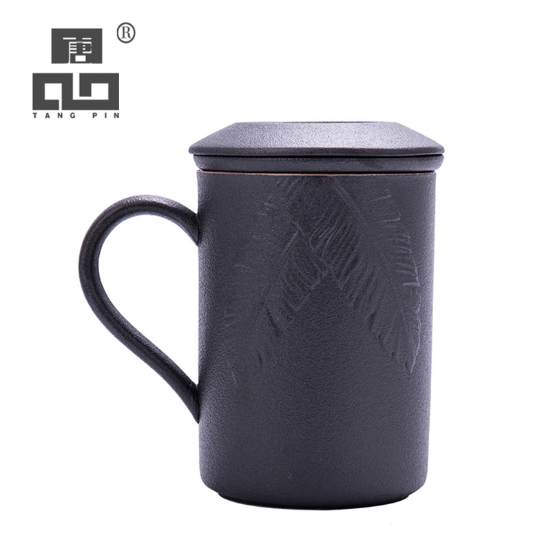 TANGPIN black crockery ceramic tea mugs with filters porcelain coffee cup teacup 450ml