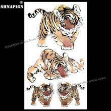 SHNAPIGN Junior Tiger Child Temporary Body Art Flash Tattoo Sticker 10x17cm Waterproof Painless Henna Selfie Tattoo Stickers