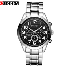 Movimiento japonés de alta calidad de los hombres de moda casual calendario curren 8050 reloj de acero impermeable del deporte