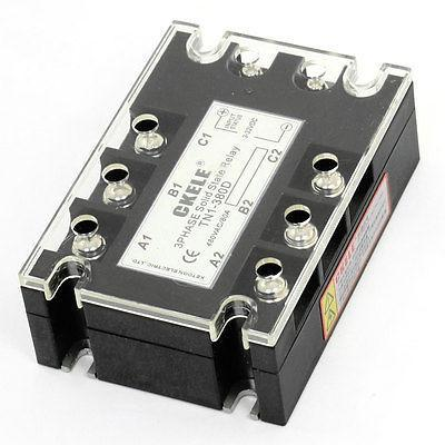 3-32VDC/480VAC 80A 3P SSR Solid State Relay TN1/380D w Indicator Light normally open single phase solid state relay ssr mgr 1 d48120 120a control dc ac 24 480v