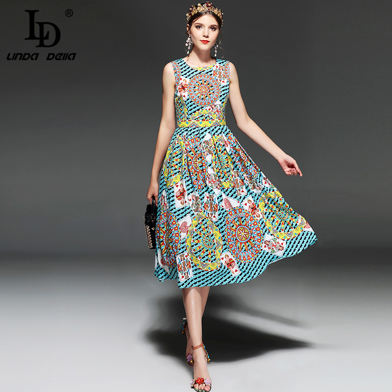 LD LINDA DELLA nouvelle mode Designer Piste Robe D'été Femmes Sans Manches jeu de carte Imprimé Vintage robe rétro