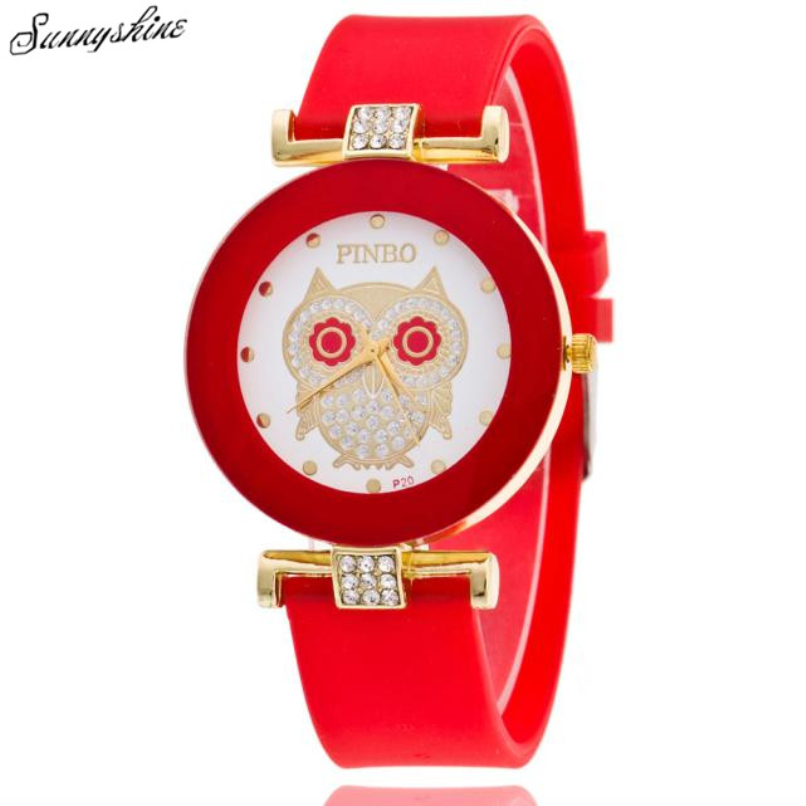 Watches Women Nurse Noble Lady Dress Crystal Owl Silicone Diamond Jelly Leisurely Gorgeous Quartz Wrist Watch Temperament Hot C5