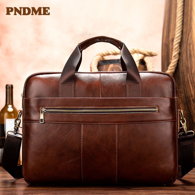 European and American simple man bag leather business document carrying briefcase horizontal style casual cross shoulder bag in Briefcases from Luggage Bags