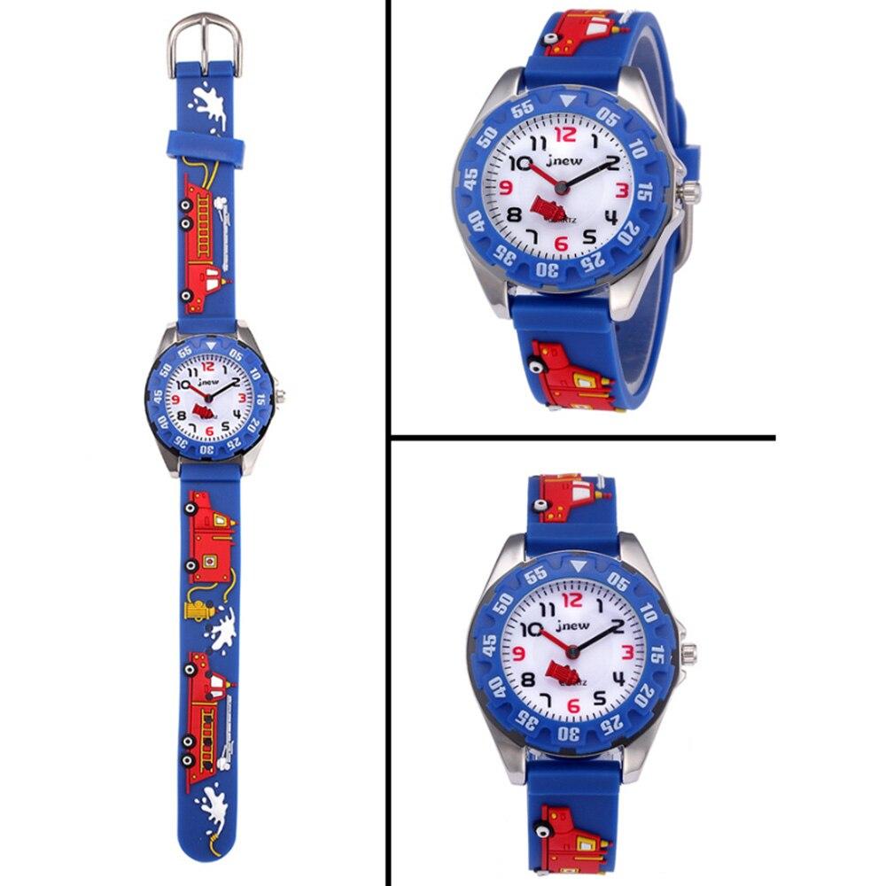 Дети часы 3D мультфильм огонь грузовик водонепроницаемый спорт силикон дети часы подарок для мальчиков девочек детей 27 лет спорт часы