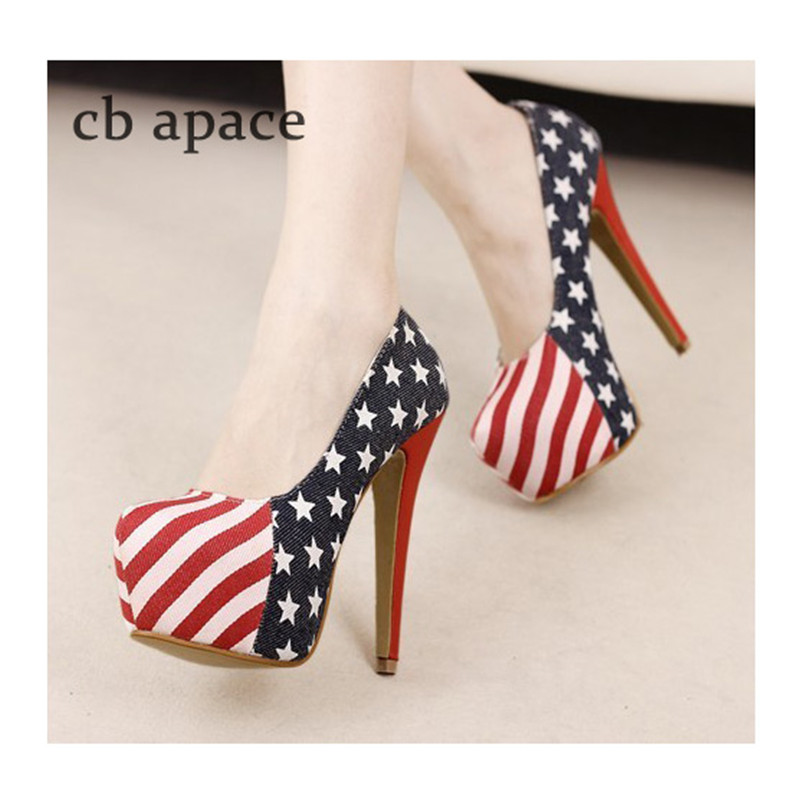 European Women's Pumps Woman Red Bottom High Heels Shoes Casual American Flag Vamp Ladies Thin Heel Footwear bayan ayakkabi