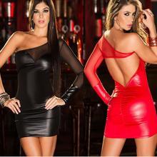 Сексуальное женское белье, эротическое латексное платье из искусственной кожи, сексуальные ночные платья, Клубная одежда, боди, костюмы с открытой спиной, платье для танцев на шесте, Arnes Sexo Red