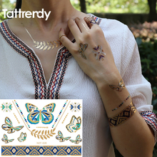 Tattoo Colored Blue Gold Foil Silver Metal Waterproof Jewelry Necklace Choker Butterfly Design Flash Temporary Tattoos N28