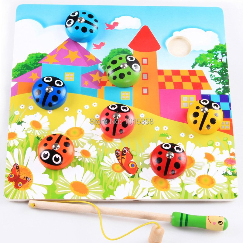 Free Shipping Magnetic Fishing Toys Fishing Beetles, Kids Classic Wooden Toys, Learning And Education Of Baby Toys