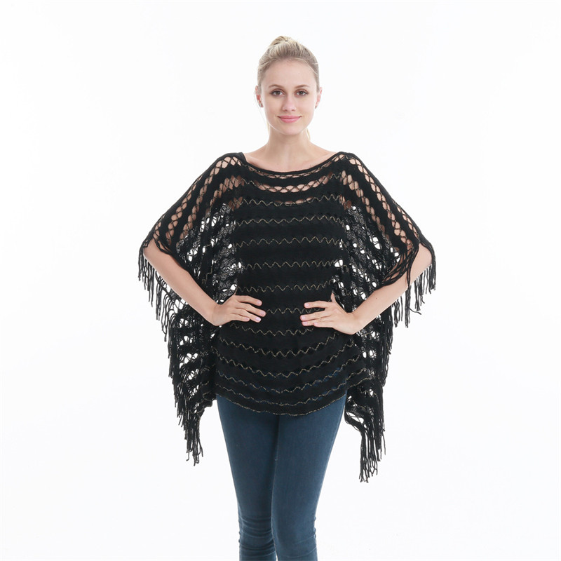 Summer Autumn Woman Poncho Casual Sweater Thin Hollow Pullover Tassel Gold Wire Woman Scarf Beach Smock PH33