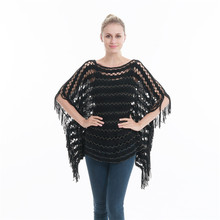 Summer Autumn Woman Poncho Casual Sweater Thin Hollow Pullover Tassel Gold Wire Scarf Beach Smock PH33