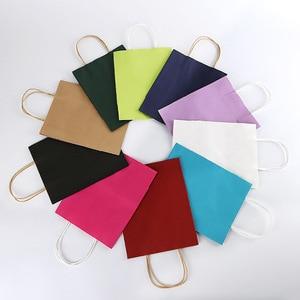 Image 3 - 50PCS 21x15x8cm DIY Multifunktions weiche farbe papier tasche mit griffen Festival geschenk tasche einkaufen taschen kraft papier verpackung tasche