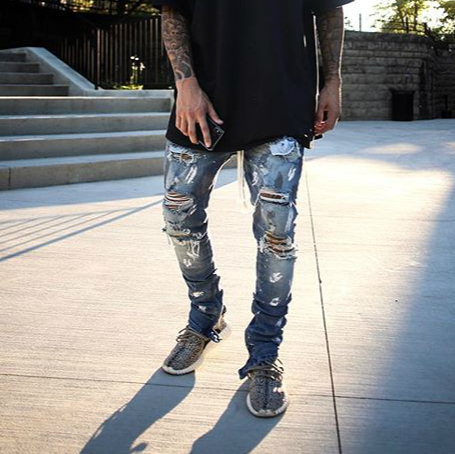Skinny Distressed Stretch Denim Jeans Justin Bieber Paint Splatter Drawstring Biker Jeans streetwear