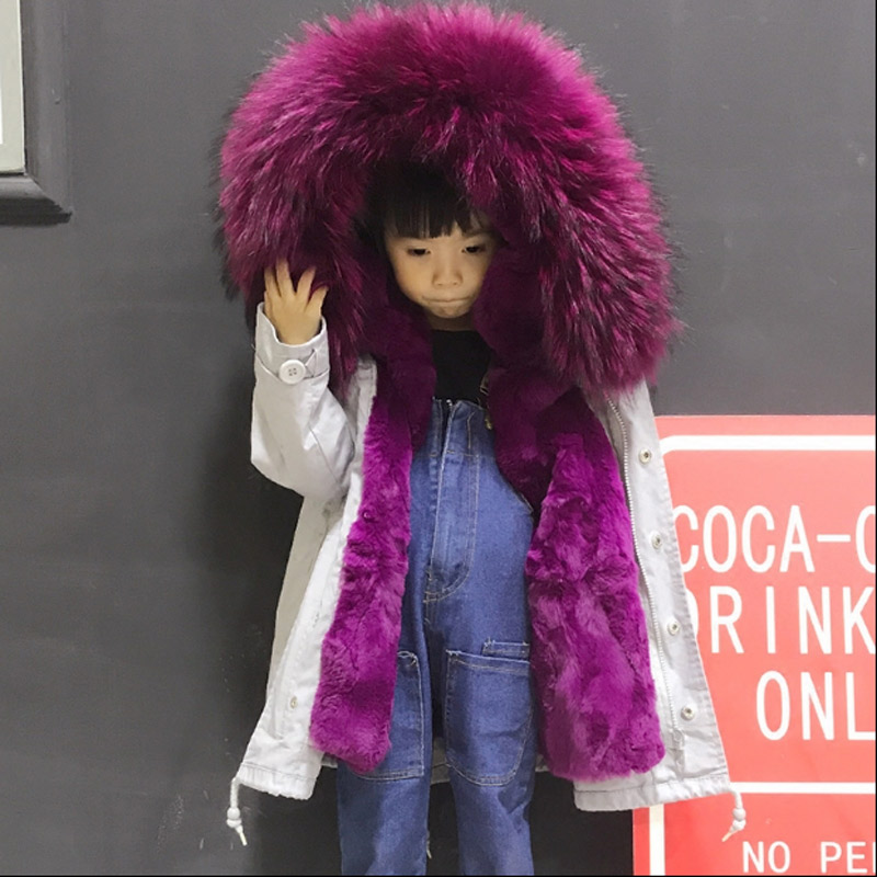 2018 autumn and winter new childrens natural Rex rabbit fur liner boys girls braid fur fur collar thickening fur jacket