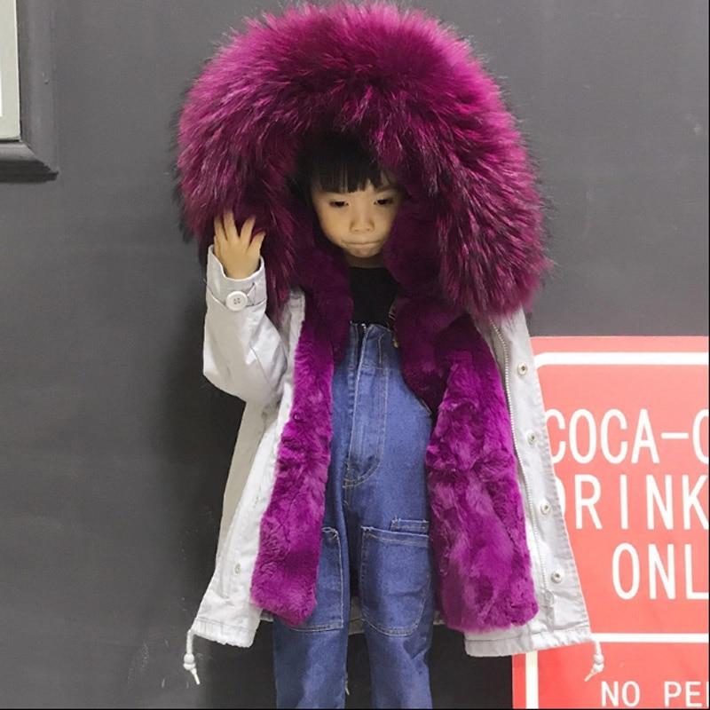 2018 autunno e di inverno dei nuovi bambini natural Rex Rabbit fur fodera delle ragazze dei ragazzi treccia pelliccia collo di pelliccia di ispessimento della pelliccia giacca