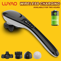 LUYAO 4 In 1 Multifunctional Wireless Charging Cervical Massage Stick Rechargeable Intelligence LCD Shoulder Neck Black Massager