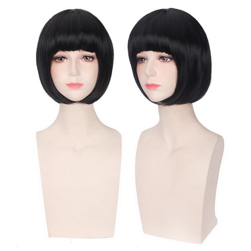12inch Kugimiya Rie Short Black Anime Cosplay Wig Synthetic Hair Halloween Costume Straight Bob Wigs For Women
