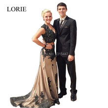 Neue Stil 2 Stück Prom Kleider 2016 Vestidos Cortos De Gala Schwarz Spitze Appliques Perlen Frauen Champagne Formale Abendkleider