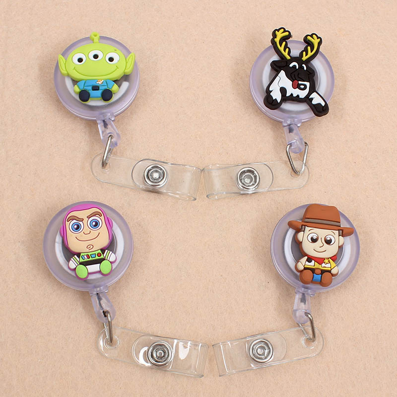Creative 60cm Silicone Buzz Lightyear Retractable Badge Reel Student Nurse Docture Exhibition Enfermera Name Card ID Card Chest