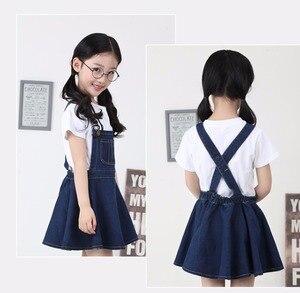 Image 2 - Chumhey 5 14T yaz kız askı elbise kız Denim önlük fişleri Mini elbiseler tulum çocuk giysileri çocuk giyim