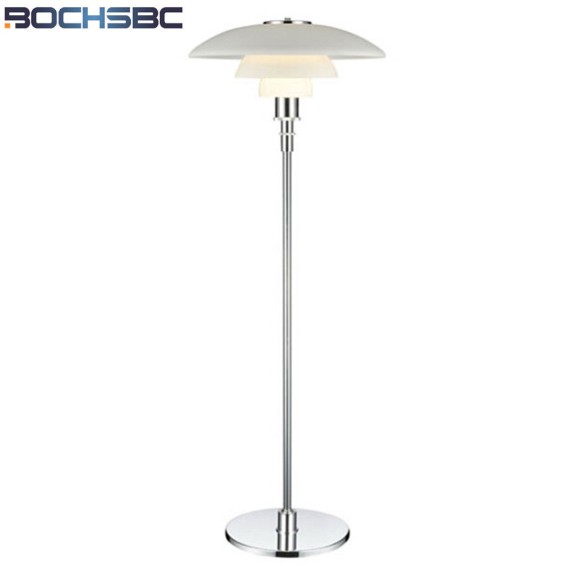 BOCHSBC Metal Stand Lamp Lights Three Layer White Glass Floor Lamps Modern Louis Pouls PH Light Fixture for Living Room Bedroom modern wooden floor lamps bookshelf floor stand lights tea table standing lamp living room bedroom locker nightstand lighting