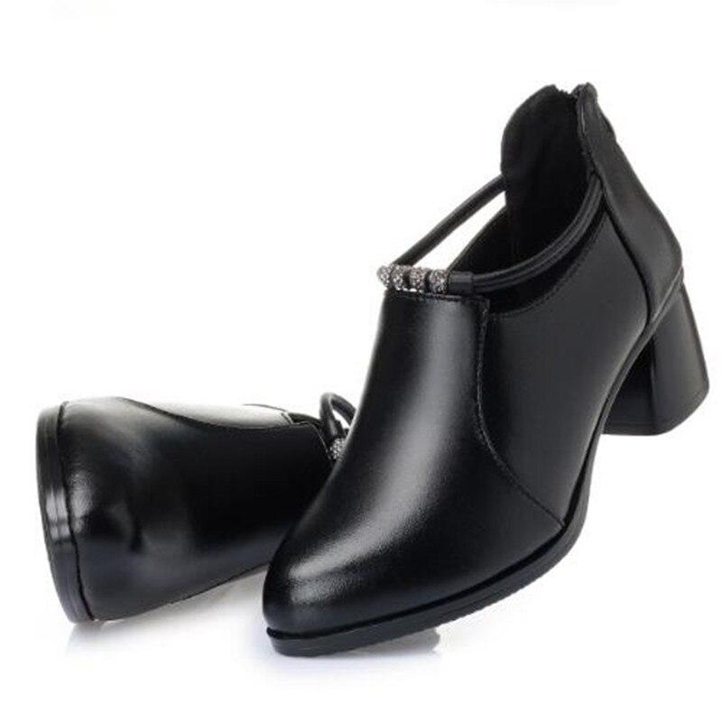 Лидер продаж; женские туфли на высоком каблуке; г.; элегантные удобные туфли из натуральной кожи; женская обувь; модные туфли на высоком каблуке со стразами - Цвет: black