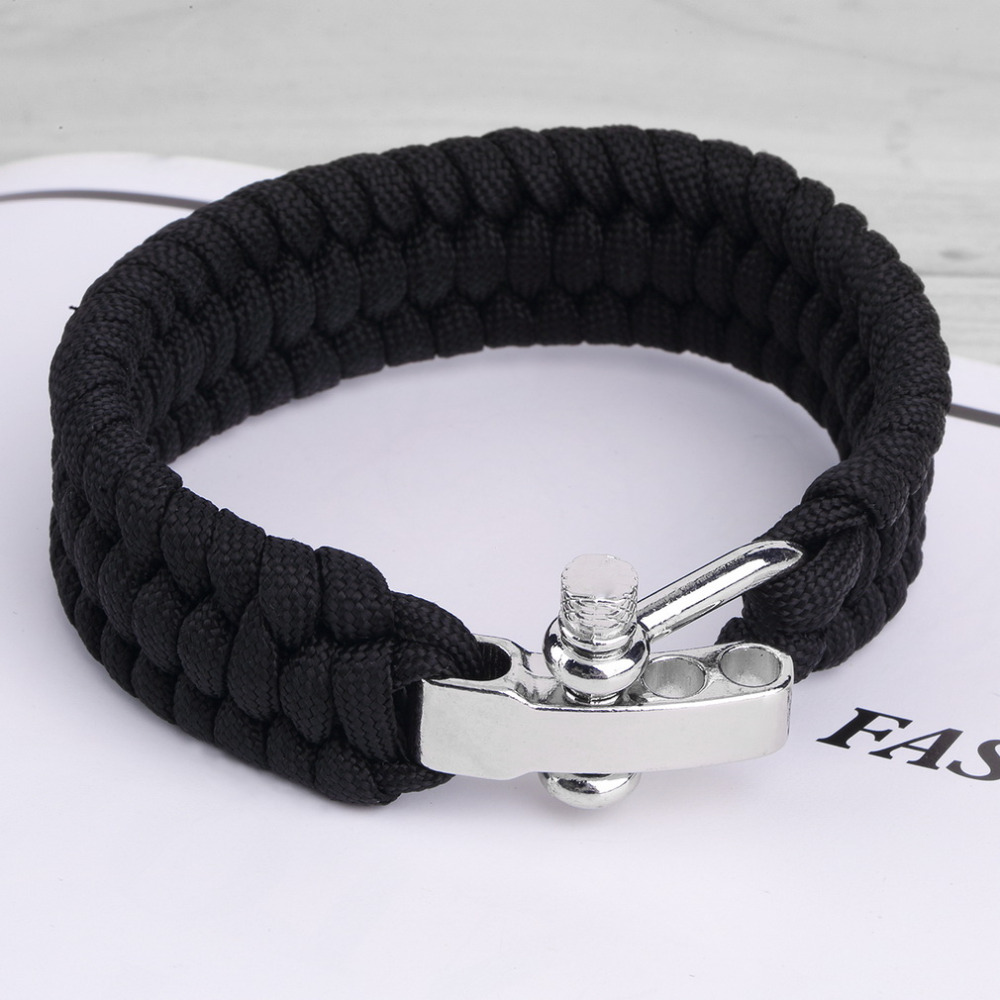 US $1 49 20% OFF|Black ParaCord Rope Outdoor Survival Bracelet Camping  Steel Shackle Buckle Hot Sale-in Outdoor Tools from Sports & Entertainment  on