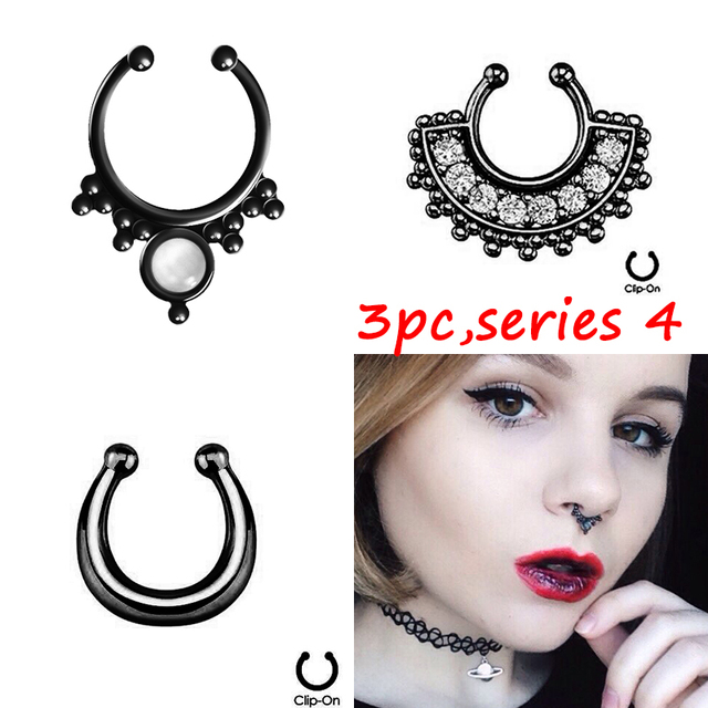 3 PCS Women Black Fake septum nose ring Hoop nose faux clip Rings clicker piercing Body Jewelry