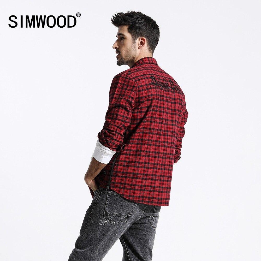 SIMWOOD 2019 Весна Новый красный рубашки в клетку для мужчин западный двойные карманы боковой молнии сзади вышивка мода 100% хлопковая рубашка 180392
