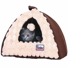 Collapsible Pet Dog Cat Tent Shaped House Bed Kitten Cuddly Cave Cat Castle with Removable Cushion & Dangling Sherpa Ball