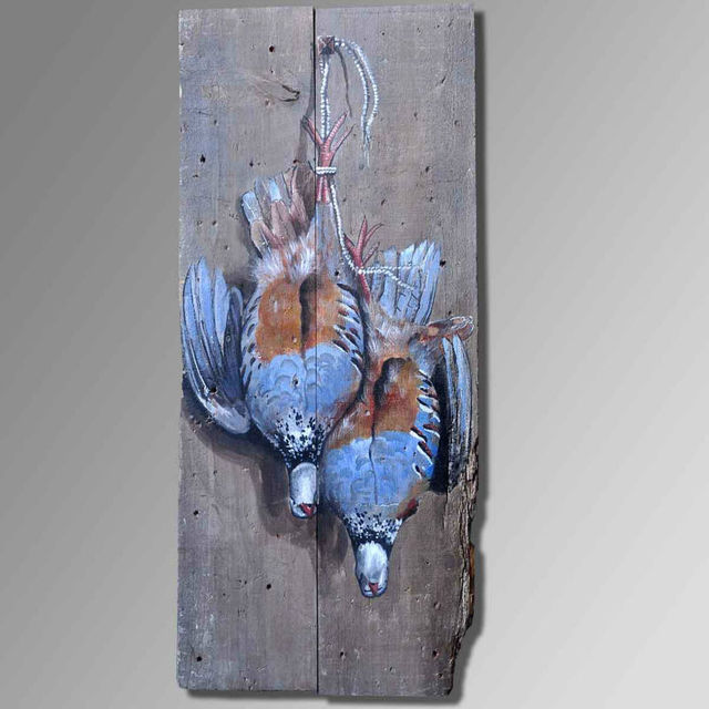 US $399 0 |Oil on wood pigeons Hunting theme abstract art painting Old wood  retro style High quality abstract art pictures art deco bar في Oil on