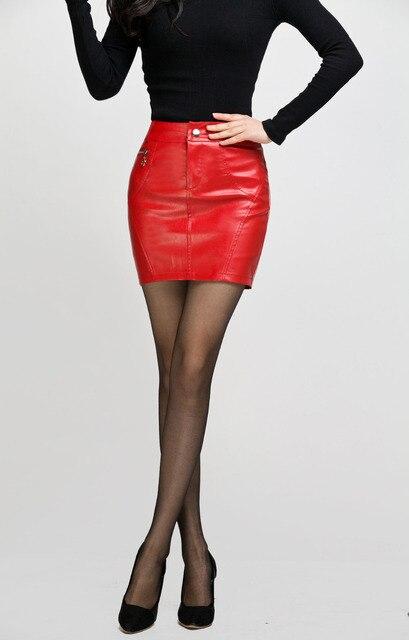 rode leren rok