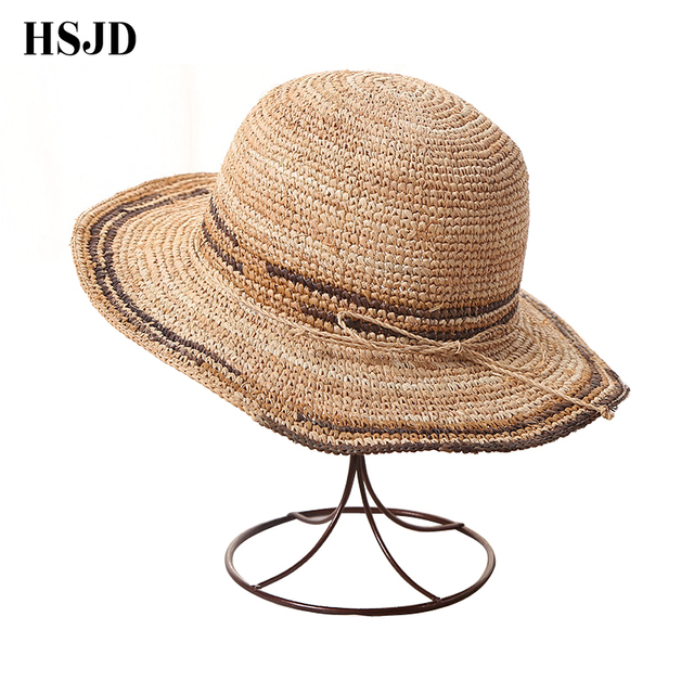 e15c6678563 Female Sun hat lafite grass beach hat Wide brim summer hats for women  anti-uv folding straw hat beach sea Travel women s cap