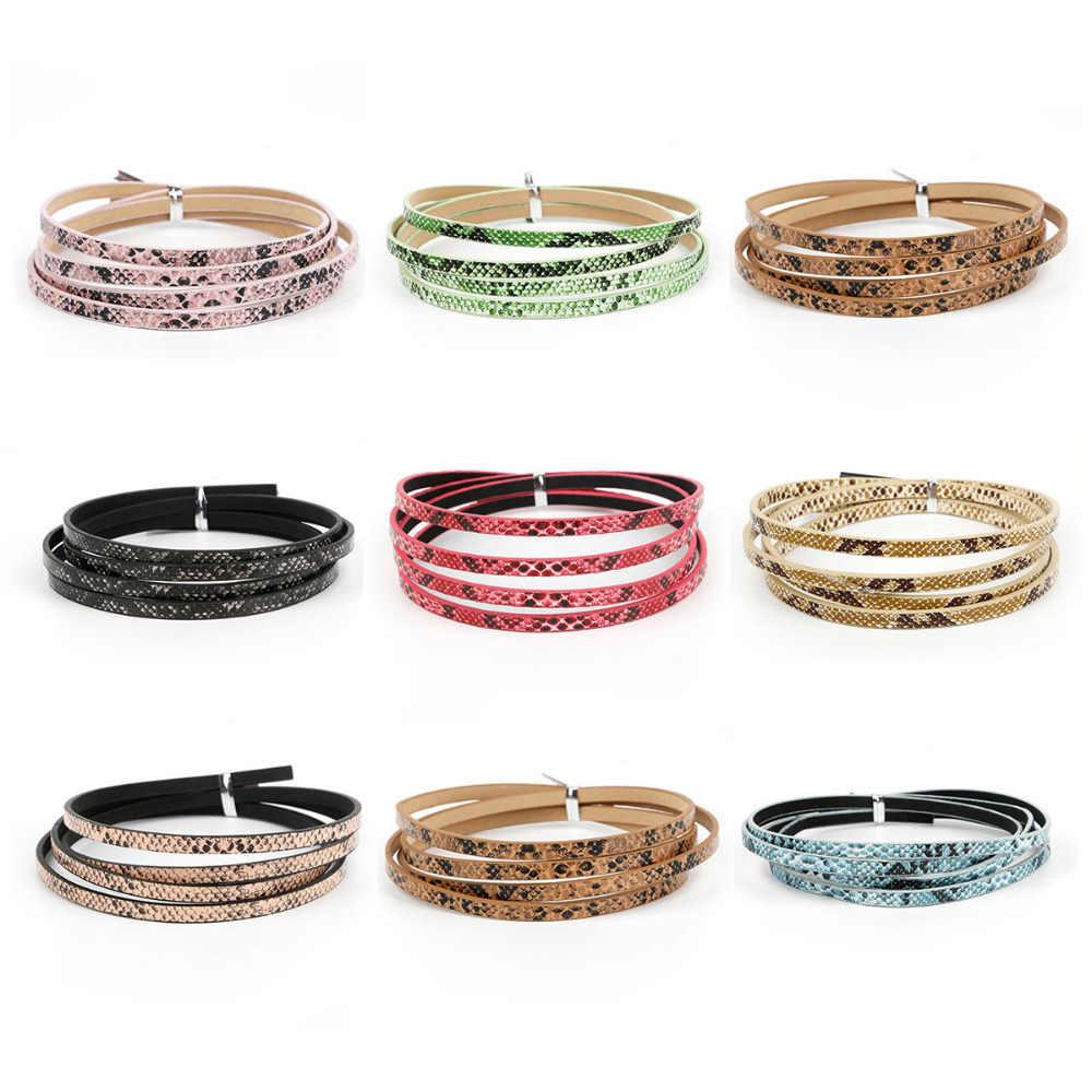¡Novedad! 1 Uds. De cordón y Cuerda de piel de serpiente plana de 100CM para pulsera DIY, collar, joyería artesanal, fabricación de alambre