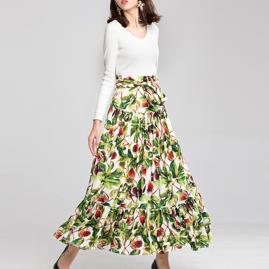 SEQINYY Casual Skirt 2018 Autumn Winter New Fashion Printed Pomegranate Flowers High Street Splicing Elegant Floor-Length Skirt